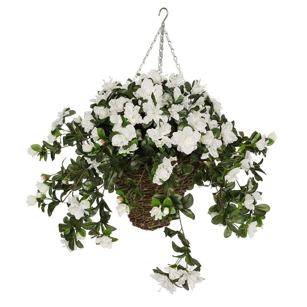 White Azalea Hanging Basket House of Silk Flowers®