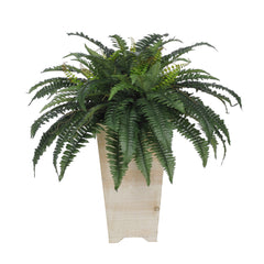 Artificial Fern in Washed Wood Planter - House of Silk Flowers®  - 4