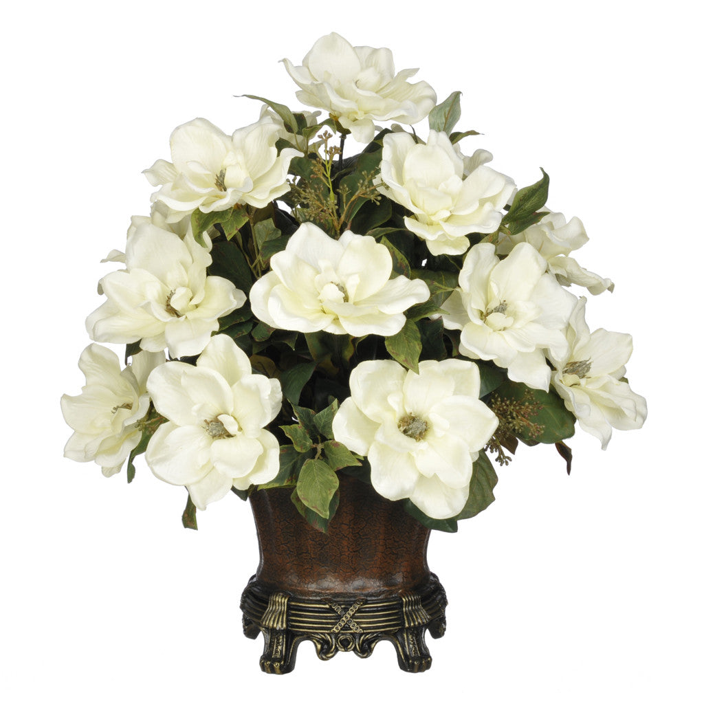 Artificial Magnolia with Bay Leaves in Traditional Urn - House of Silk Flowers®  - 1