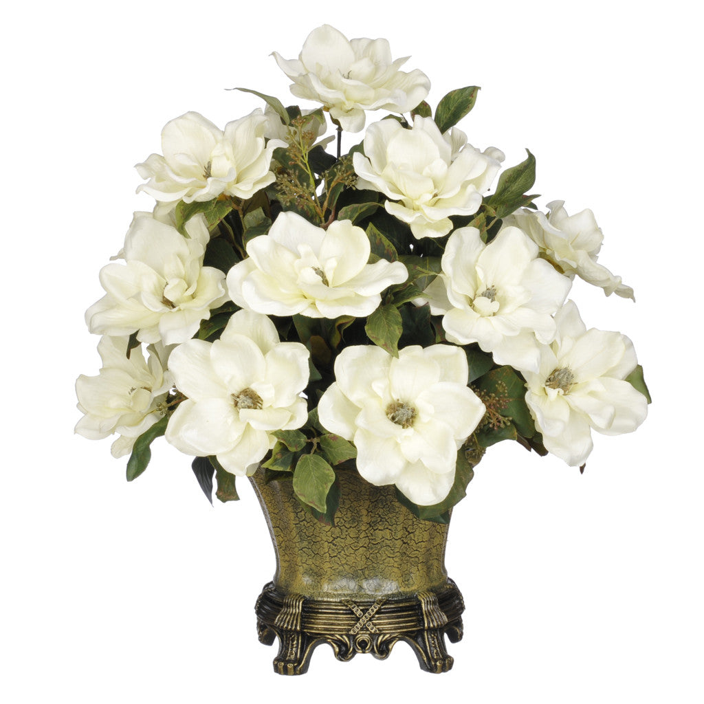 Artificial Magnolia with Bay Leaves in Traditional Urn - House of Silk Flowers®  - 2