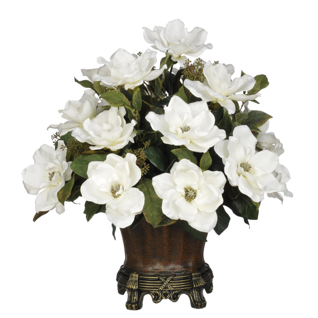 Artificial Magnolia with Bay Leaves in Traditional Urn - House of Silk Flowers®  - 3