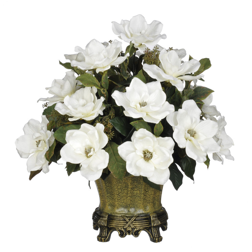 Artificial Magnolia with Bay Leaves in Traditional Urn - House of Silk Flowers®  - 4
