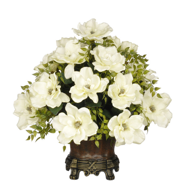 Artificial Magnolia with Tea Leaves in Traditional Urn
