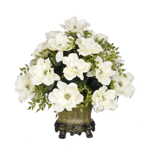 Artificial Magnolia with Tea Leaves in Traditional Urn - House of Silk Flowers®  - 2