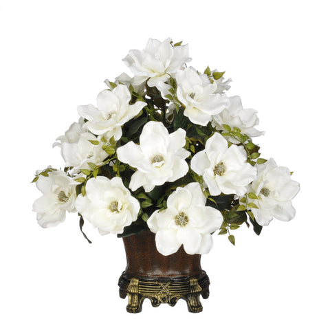 Artificial Magnolia with Tea Leaves in Traditional Urn - House of Silk Flowers®  - 3