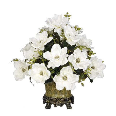 Artificial Magnolia with Tea Leaves in Traditional Urn - House of Silk Flowers®  - 4