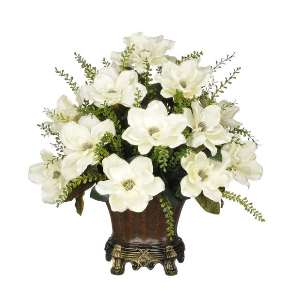 Artificial Magnolia with Mini Boxwood Leaves in Traditional Urn