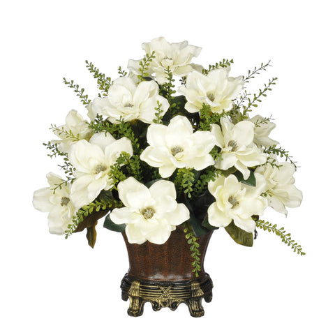 Artificial Magnolia with Mini Boxwood Leaves in Traditional Urn - House of Silk Flowers®  - 1