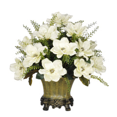 Artificial Magnolia with Mini Boxwood Leaves in Traditional Urn - House of Silk Flowers®  - 2