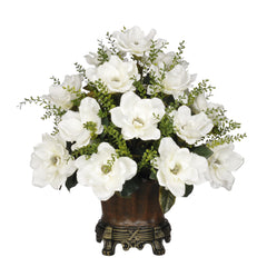 Artificial Magnolia with Mini Boxwood Leaves in Traditional Urn - House of Silk Flowers®  - 3