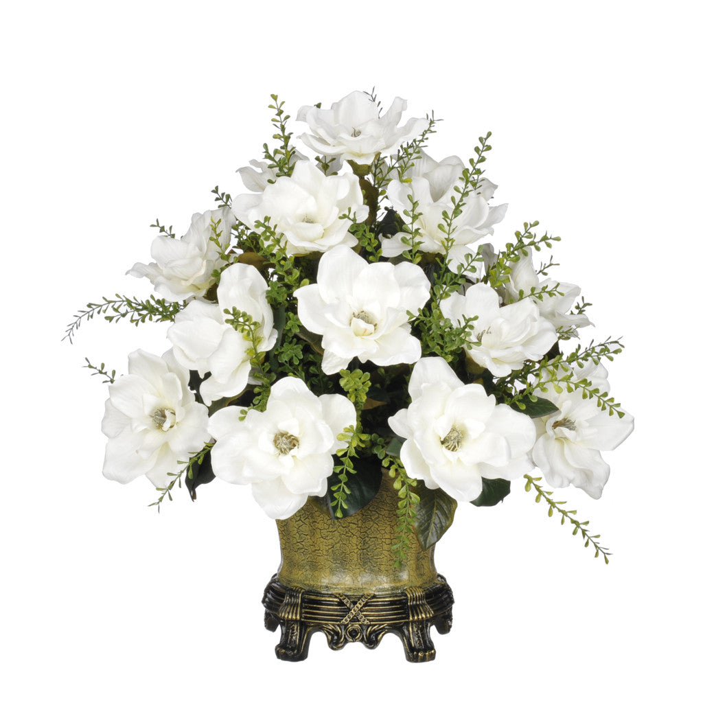 Artificial Magnolia with Mini Boxwood Leaves in Traditional Urn - House of Silk Flowers®  - 4