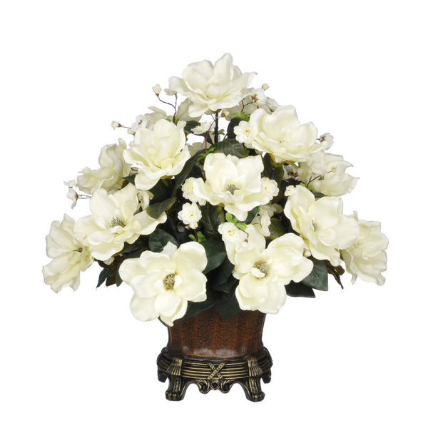 Artificial Magnolia with Cherry Blossoms in Traditional Urn