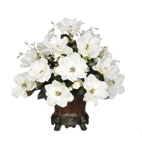 Artificial Magnolia with Cherry Blossoms in Traditional Urn - House of Silk Flowers®  - 3