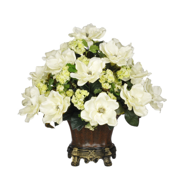 Artificial Magnolia with Snowball in Traditional Urn