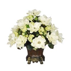 Artificial Magnolia with Snowball in Traditional Urn - House of Silk Flowers®  - 1