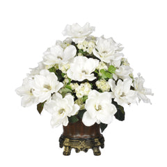 Artificial Magnolia with Snowball in Traditional Urn - House of Silk Flowers®  - 3