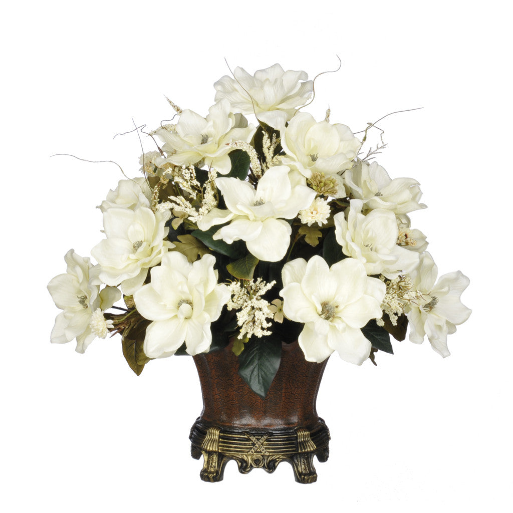Artificial Magnolia with Mini Mums in Traditional Urn - House of Silk Flowers®  - 1