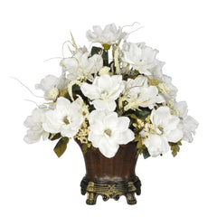 Artificial Magnolia with Mini Mums in Traditional Urn - House of Silk Flowers®  - 3