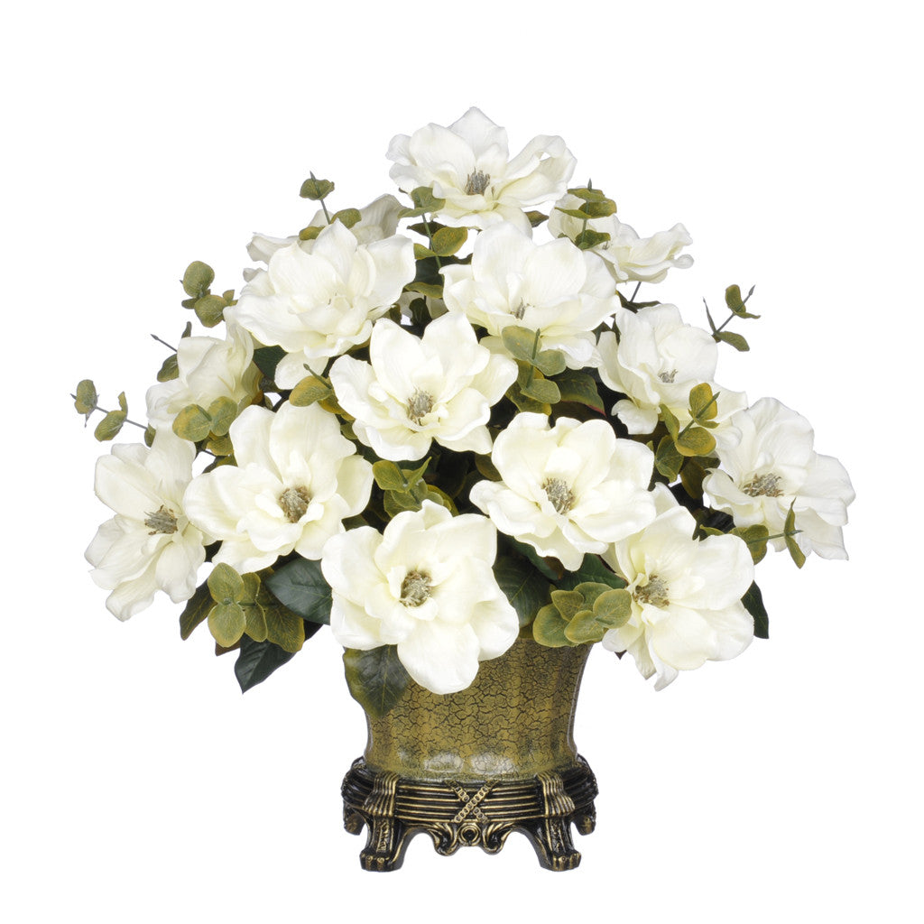 Artificial Magnolia with Eucalyptus in Traditional Urn - House of Silk Flowers®  - 2
