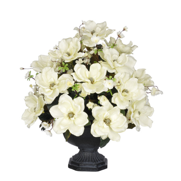 Artificial Magnolia with Cherry Blossoms in Garden Urn