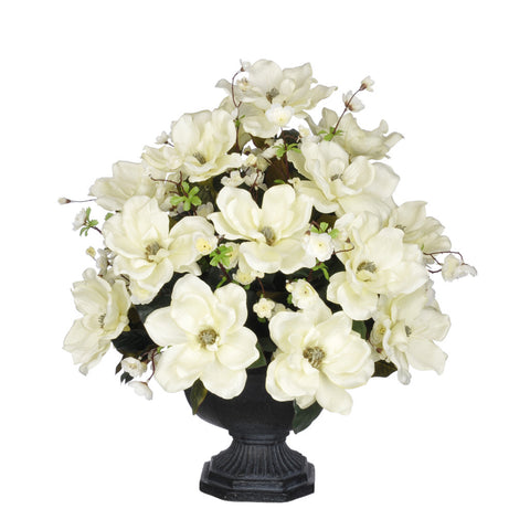 Artificial Magnolia with Cherry Blossoms in Garden Urn - House of Silk Flowers®  - 1