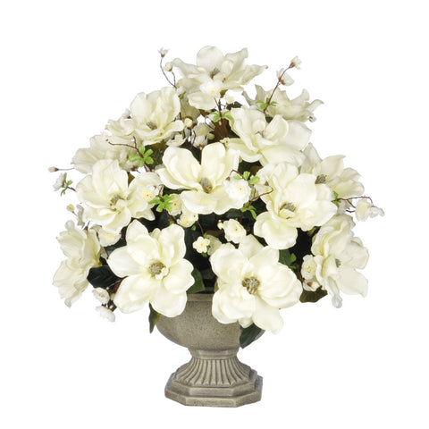 Artificial Magnolia with Cherry Blossoms in Garden Urn - House of Silk Flowers®  - 3