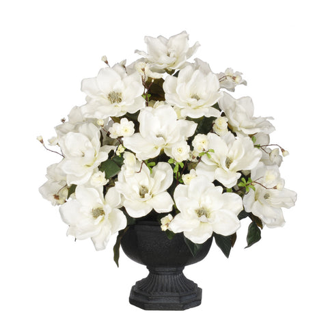 Artificial Magnolia with Cherry Blossoms in Garden Urn - House of Silk Flowers®  - 4