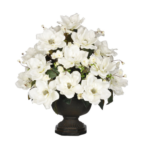 Artificial Magnolia with Cherry Blossoms in Garden Urn - House of Silk Flowers®  - 5
