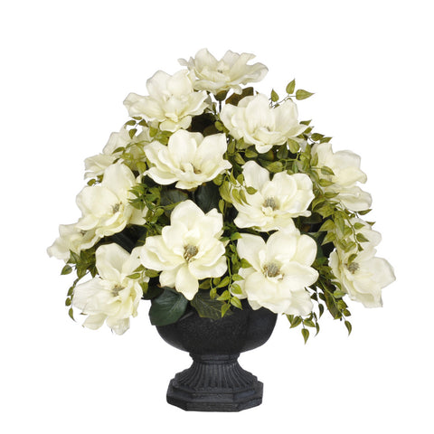Artificial Magnolia with Tea Leaves in Garden Urn - House of Silk Flowers®  - 1