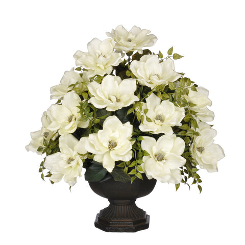 Artificial Magnolia with Tea Leaves in Garden Urn - House of Silk Flowers®  - 2