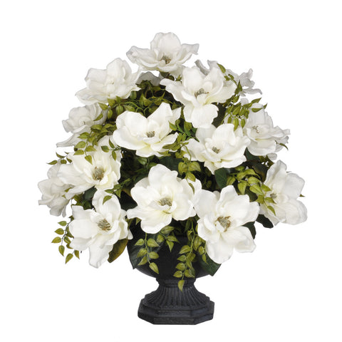 Artificial Magnolia with Tea Leaves in Garden Urn - House of Silk Flowers®  - 4