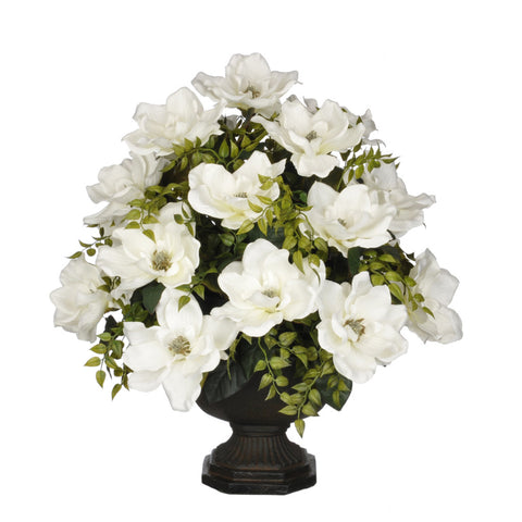 Artificial Magnolia with Tea Leaves in Garden Urn - House of Silk Flowers®  - 5