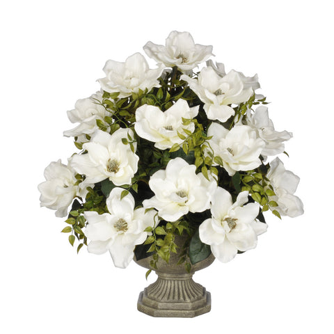 Artificial Magnolia with Tea Leaves in Garden Urn - House of Silk Flowers®  - 6