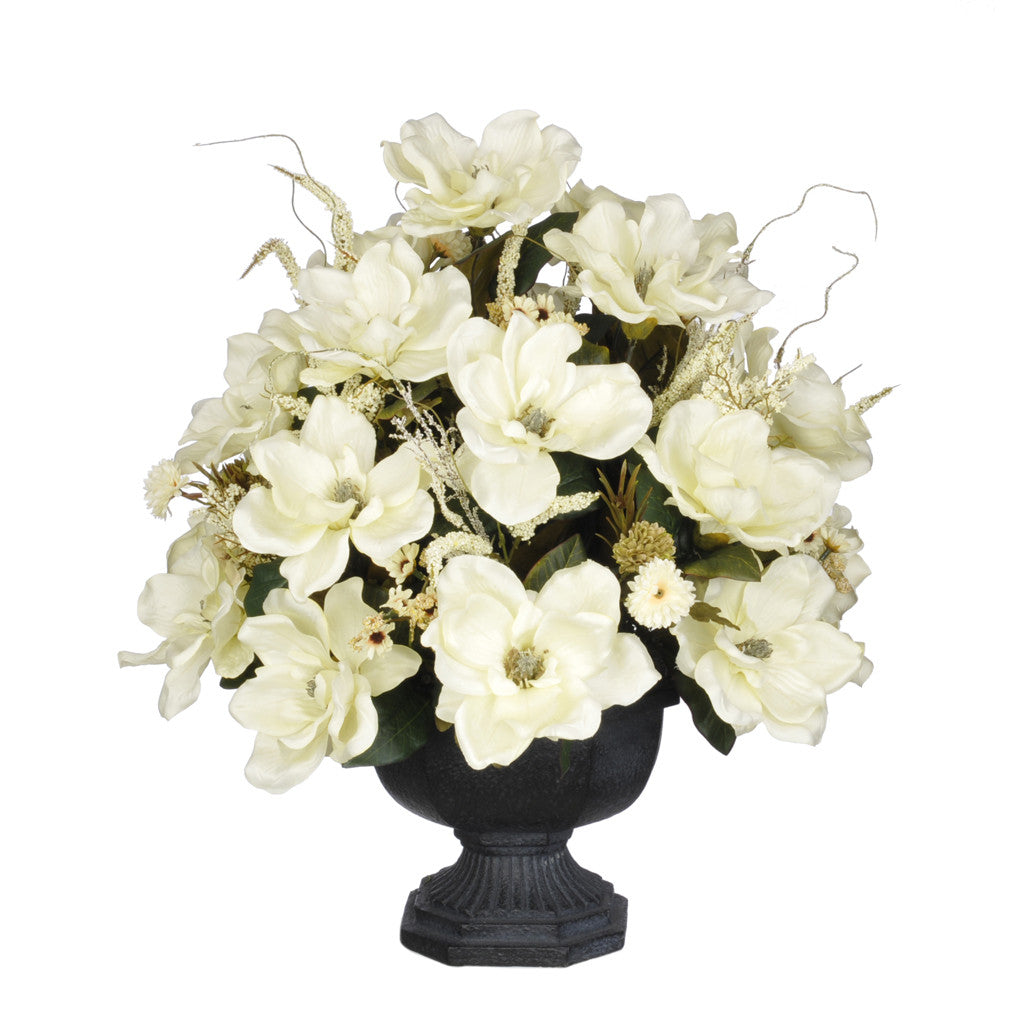 Artificial Magnolia with Mini Mums in Garden Urn - House of Silk Flowers®  - 1