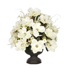 Artificial Magnolia with Mini Mums in Garden Urn - House of Silk Flowers®  - 2
