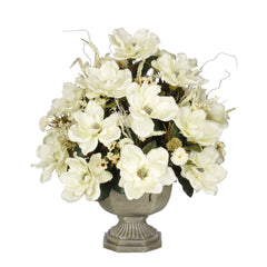 Artificial Magnolia with Mini Mums in Garden Urn - House of Silk Flowers®  - 3