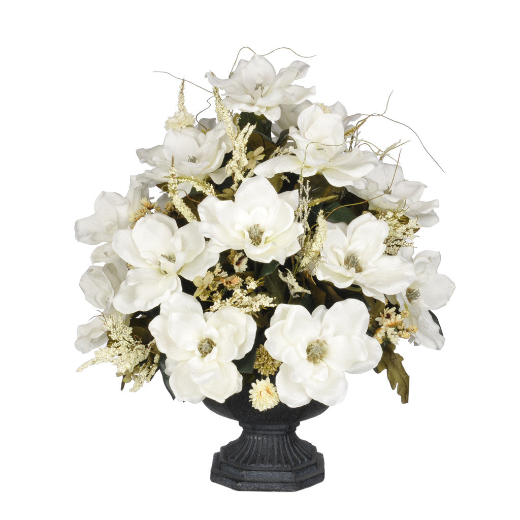 Artificial Magnolia with Mini Mums in Garden Urn - House of Silk Flowers®  - 4