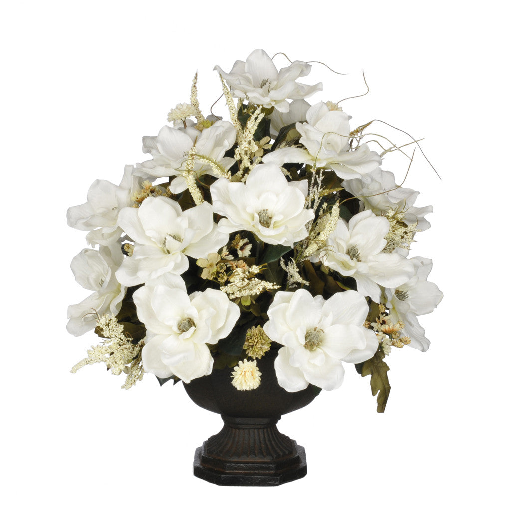 Artificial Magnolia with Mini Mums in Garden Urn - House of Silk Flowers®  - 5
