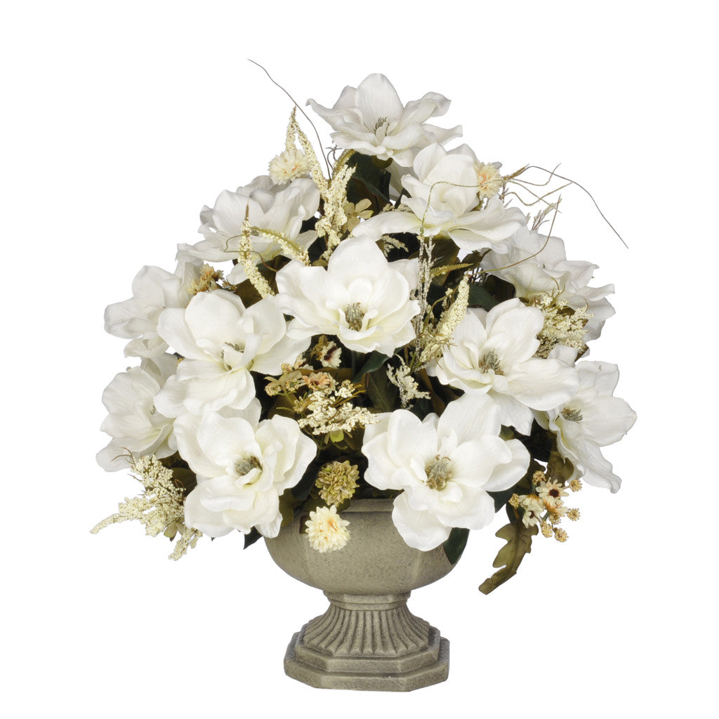 Artificial Magnolia with Mini Mums in Garden Urn - House of Silk Flowers®  - 6