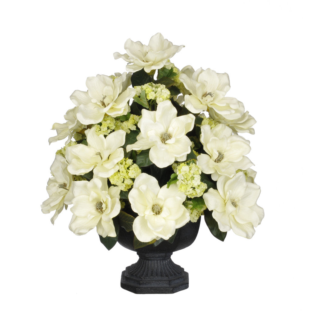 Artificial Magnolia with Snowball in Garden Urn - House of Silk Flowers®  - 1