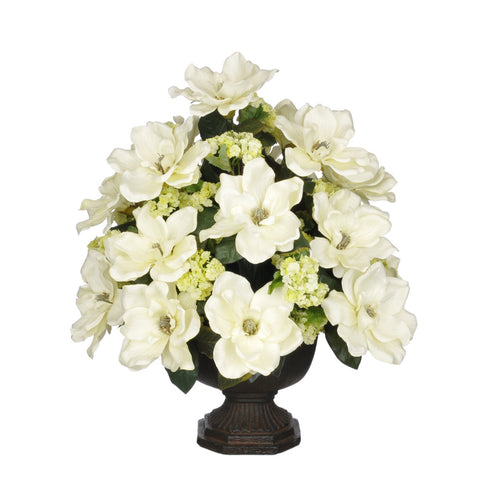 Artificial Magnolia with Snowball in Garden Urn