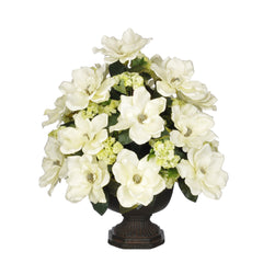 Artificial Magnolia with Snowball in Garden Urn - House of Silk Flowers®  - 2