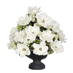 Artificial Magnolia with Snowball in Garden Urn - House of Silk Flowers®  - 4