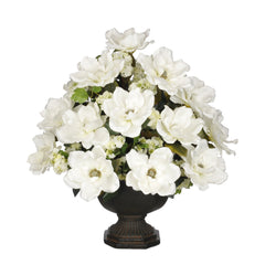 Artificial Magnolia with Snowball in Garden Urn - House of Silk Flowers®  - 5