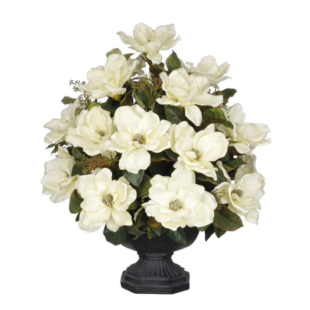 Artificial Magnolia with Bay Leaves in Garden Urn - House of Silk Flowers®  - 1
