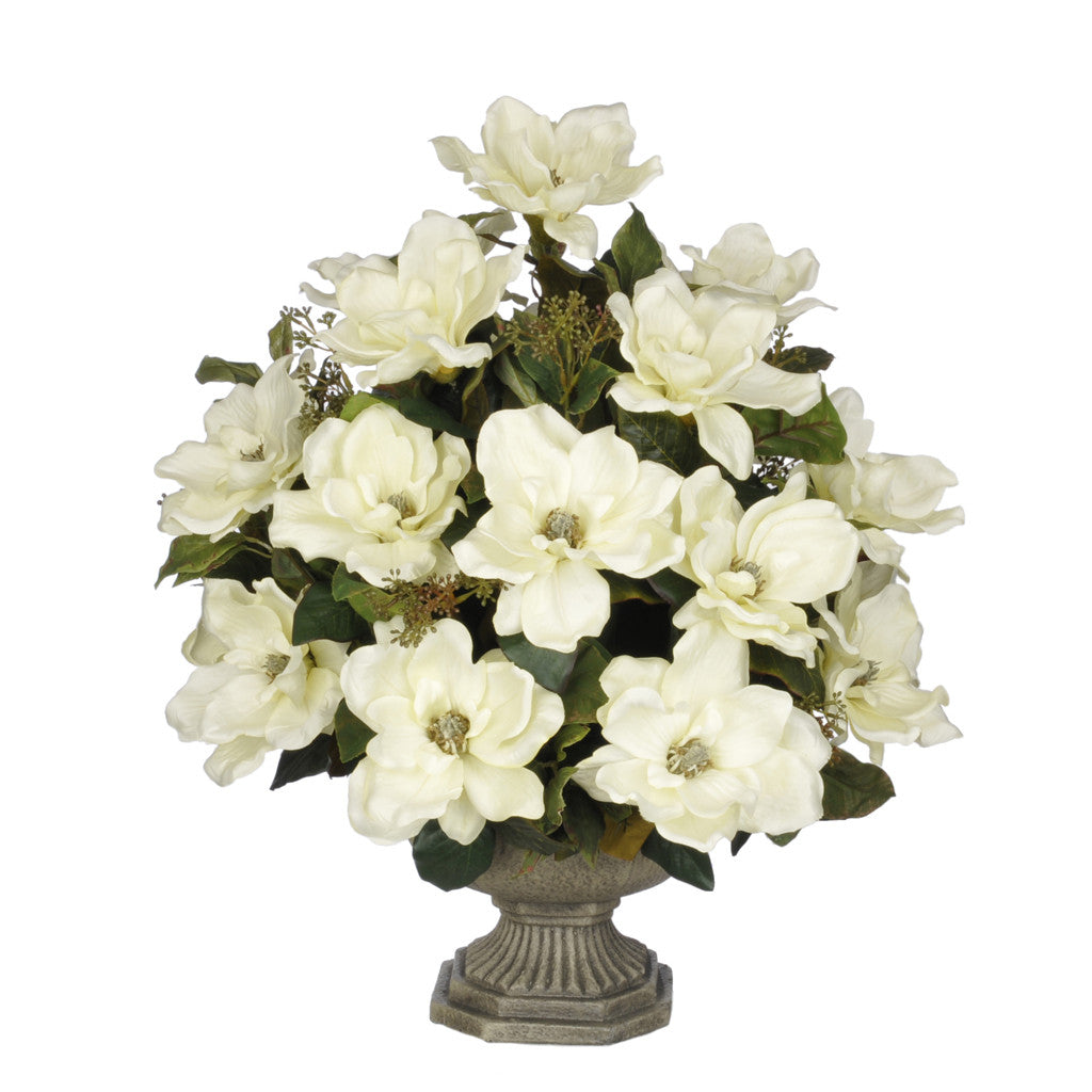 Artificial Magnolia with Bay Leaves in Garden Urn - House of Silk Flowers®  - 3
