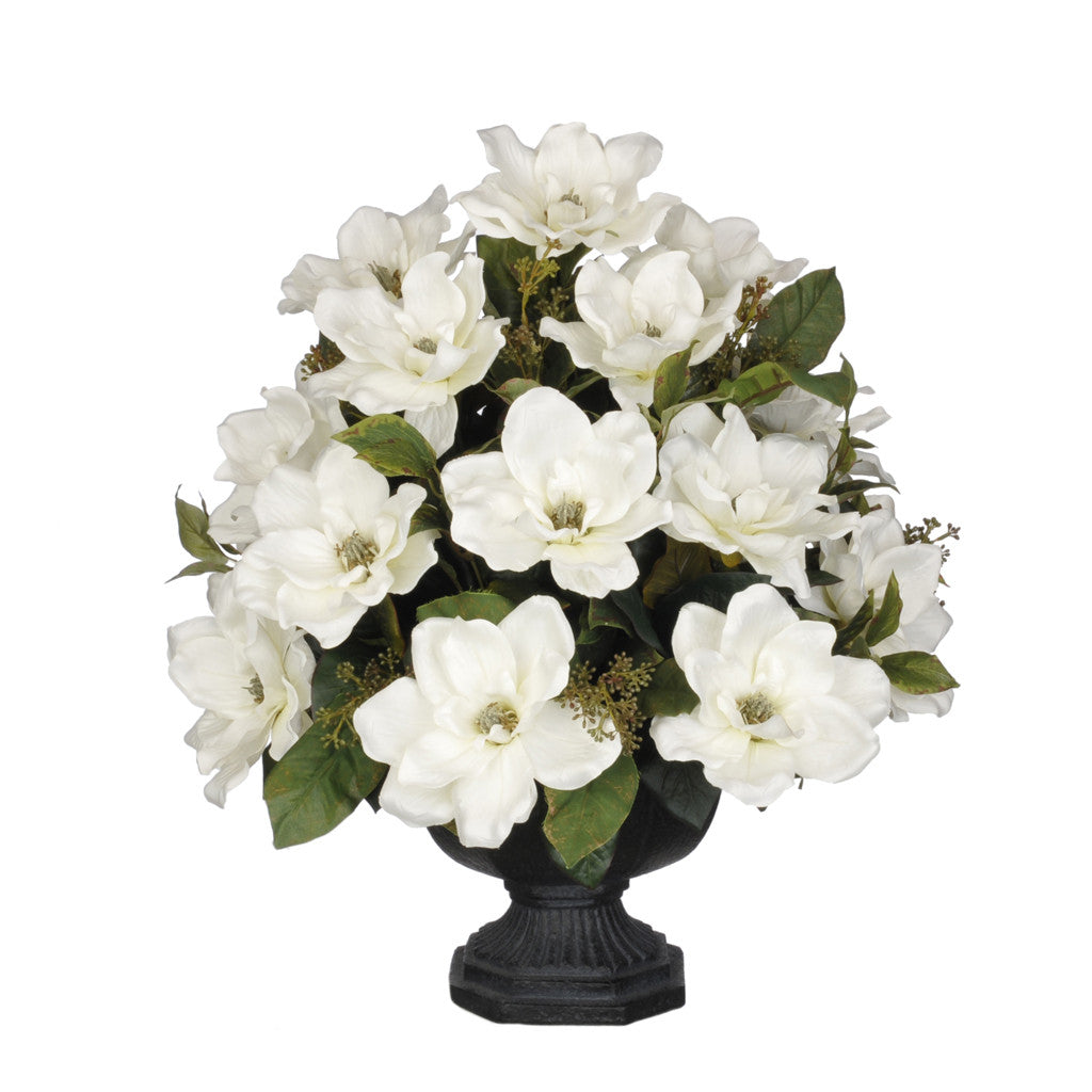 Artificial Magnolia with Bay Leaves in Garden Urn - House of Silk Flowers®  - 4