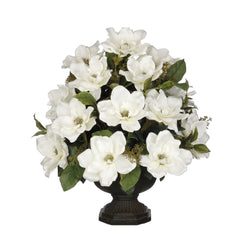 Artificial Magnolia with Bay Leaves in Garden Urn - House of Silk Flowers®  - 5