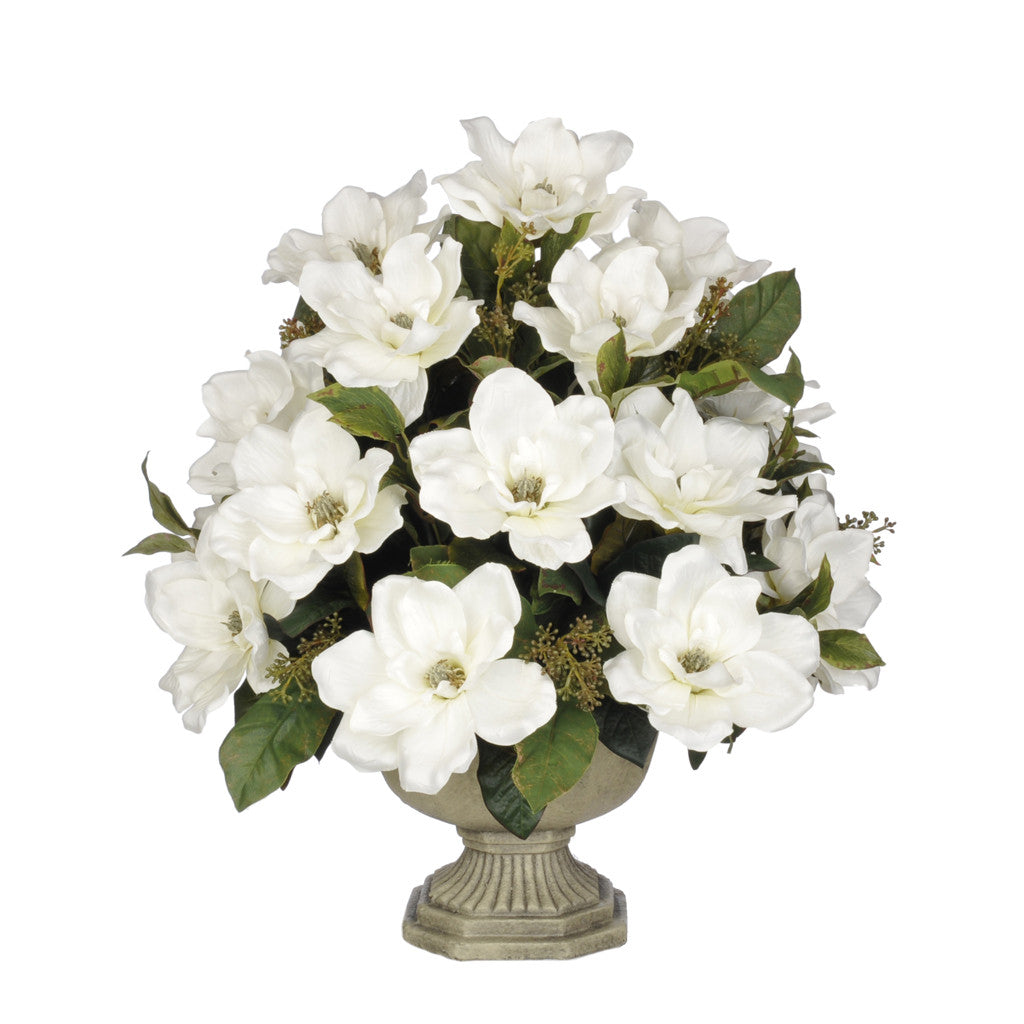 Artificial Magnolia with Bay Leaves in Garden Urn - House of Silk Flowers®  - 6
