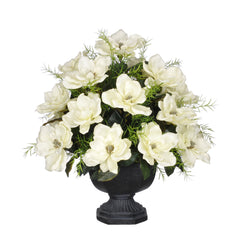 Artificial Magnolia with Asparagus Fern in Garden Urn - House of Silk Flowers®  - 1